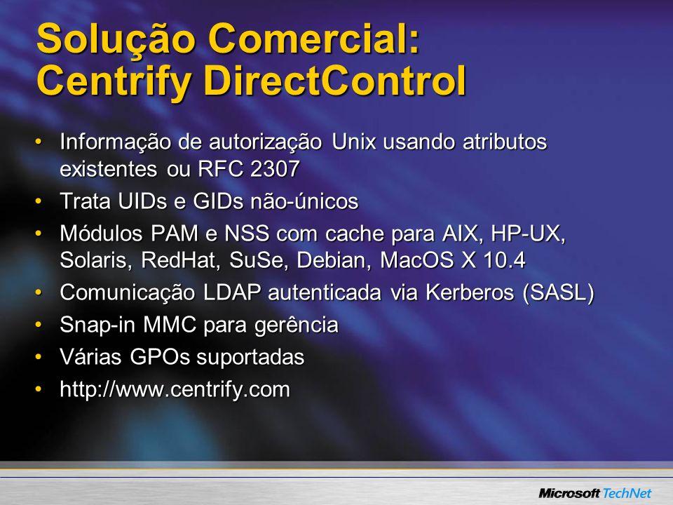 Solução Comercial: Centrify DirectControl