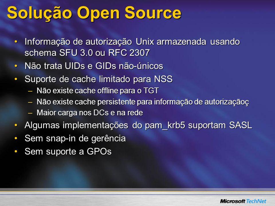 3/24/2017 7:59 AM Solução Open Source. Informação de autorização Unix armazenada usando schema SFU 3.0 ou RFC 2307.