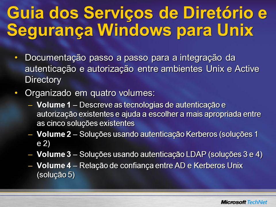 Guia dos Serviços de Diretório e Segurança Windows para Unix