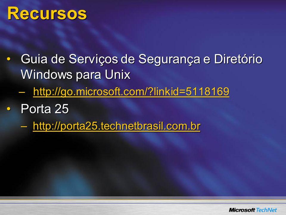 Recursos Guia de Serviços de Segurança e Diretório Windows para Unix