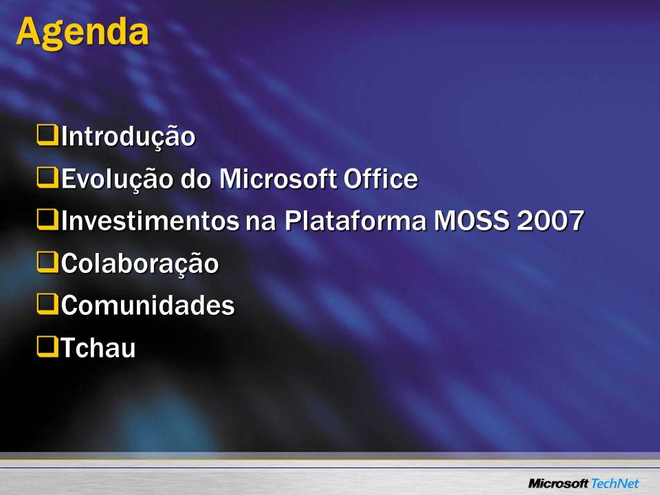 Agenda Introdução Evolução do Microsoft Office