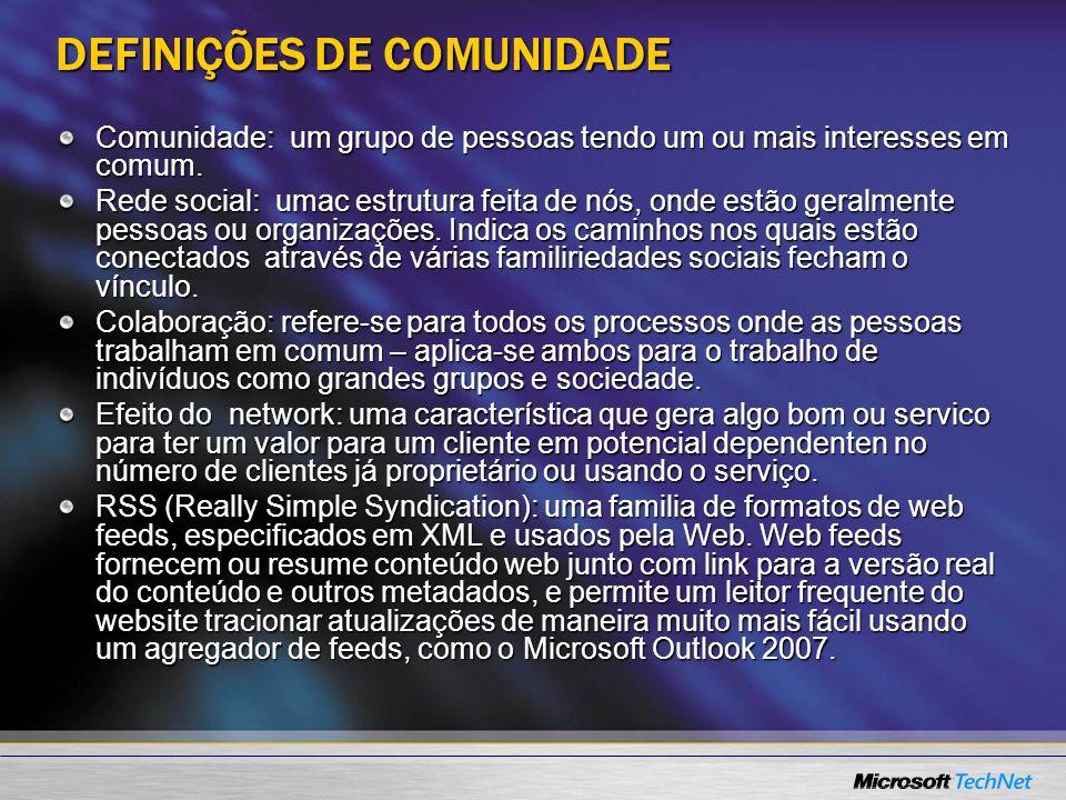 DEFINIÇÕES DE COMUNIDADE