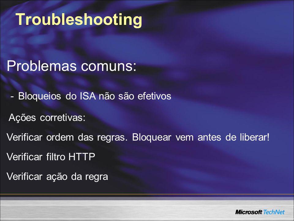 Troubleshooting Problemas comuns: - Bloqueios do ISA não são efetivos