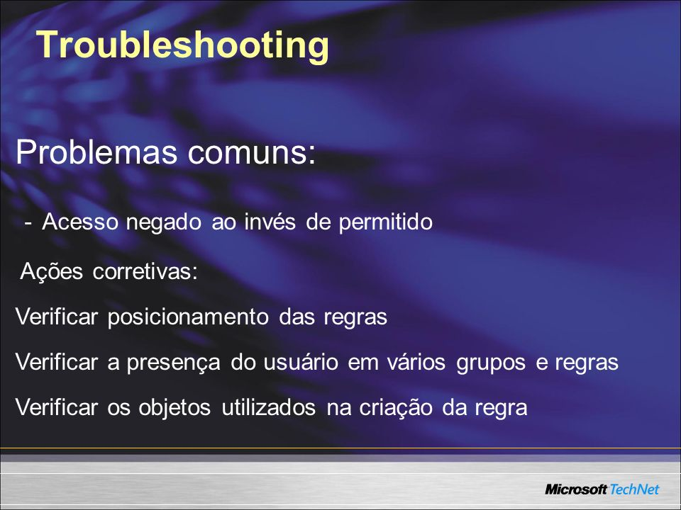 Troubleshooting Problemas comuns: