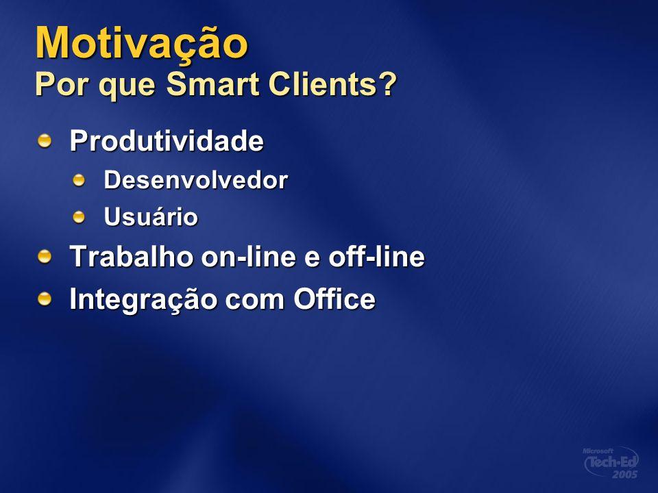 Motivação Por que Smart Clients