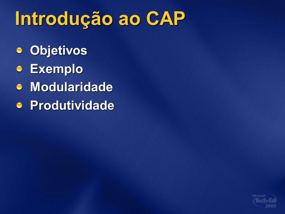 Introdução ao CAP Objetivos Exemplo Modularidade Produtividade