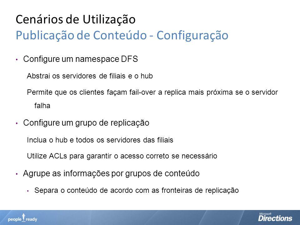 Cenários de Utilização Publicação de Conteúdo - Configuração