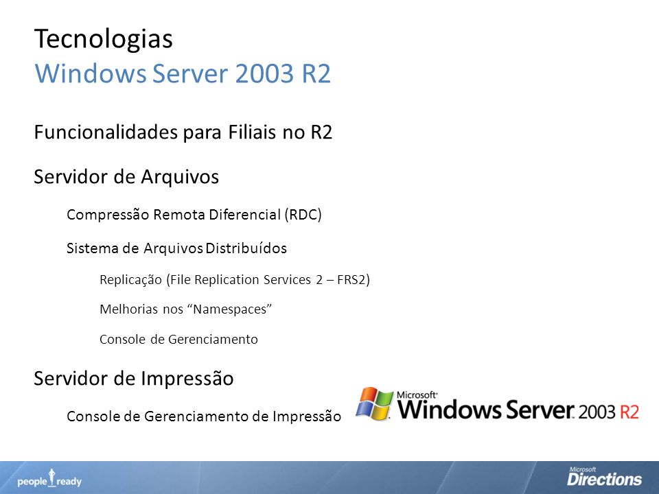 Tecnologias Windows Server 2003 R2