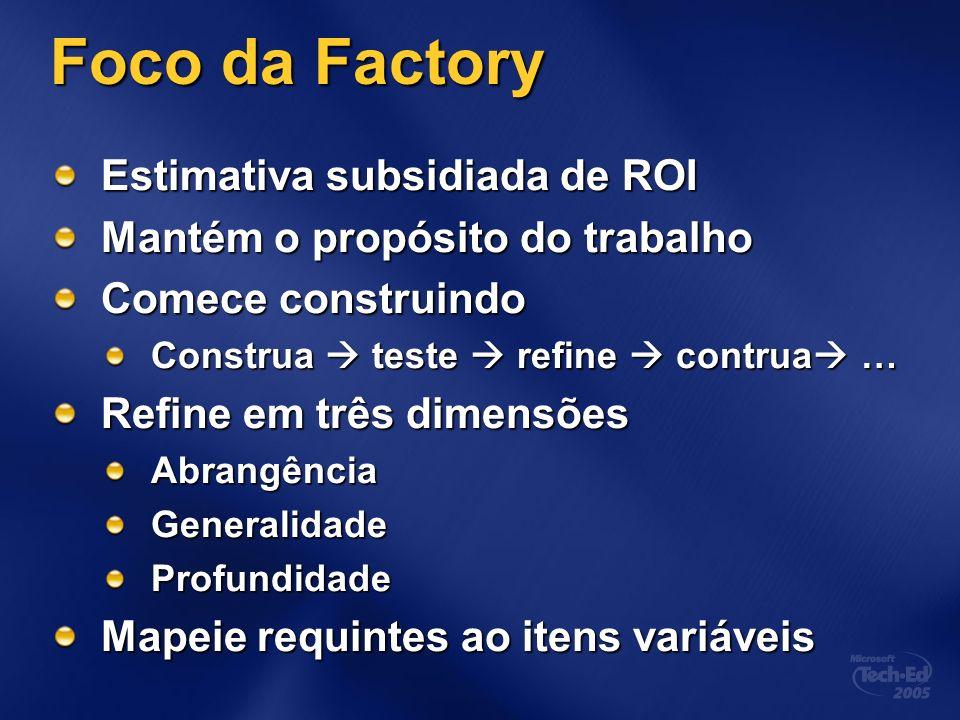 Foco da Factory Estimativa subsidiada de ROI