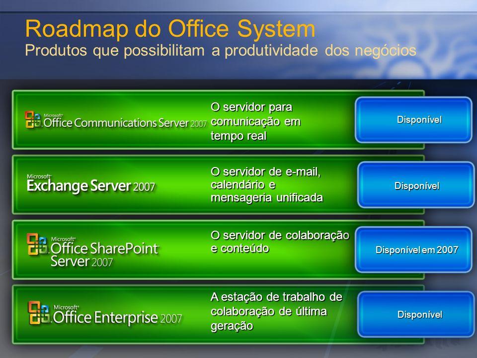 Roadmap do Office System Produtos que possibilitam a produtividade dos negócios