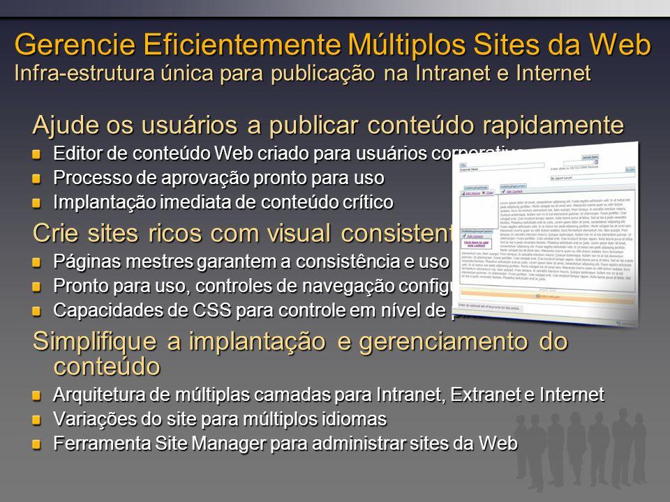 Gerencie Eficientemente Múltiplos Sites da Web Infra-estrutura única para publicação na Intranet e Internet
