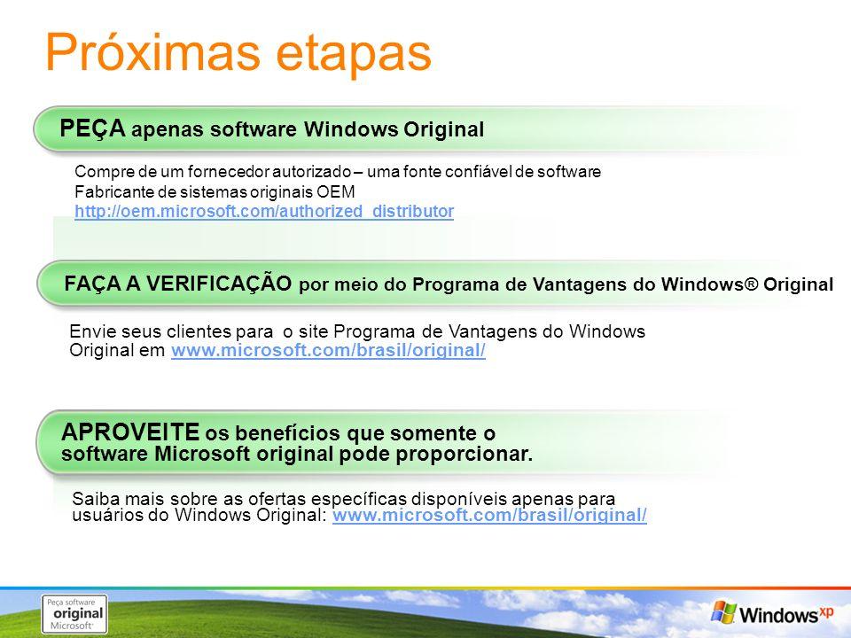 Próximas etapas PEÇA apenas software Windows Original