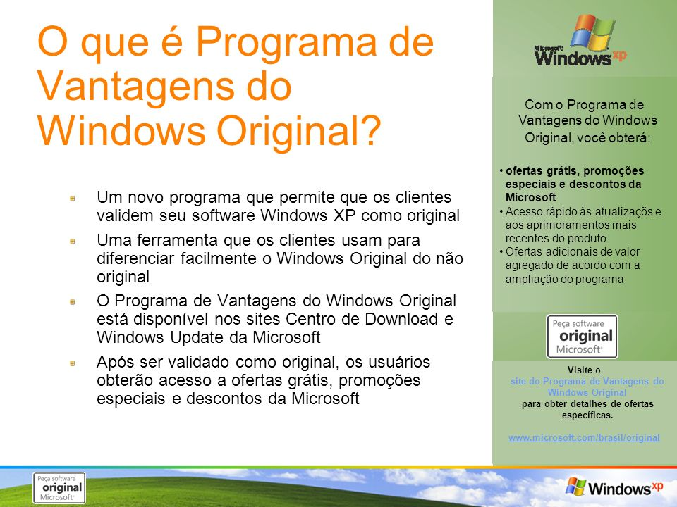 O que é Programa de Vantagens do Windows Original