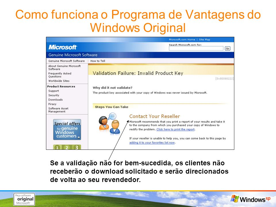 Como funciona o Programa de Vantagens do Windows Original