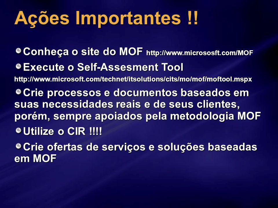 Ações Importantes !!Conheça o site do MOF http://www.micrososft.com/MOF. Execute o Self-Assesment Tool.