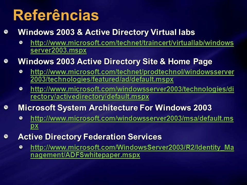 Referências Windows 2003 & Active Directory Virtual labs