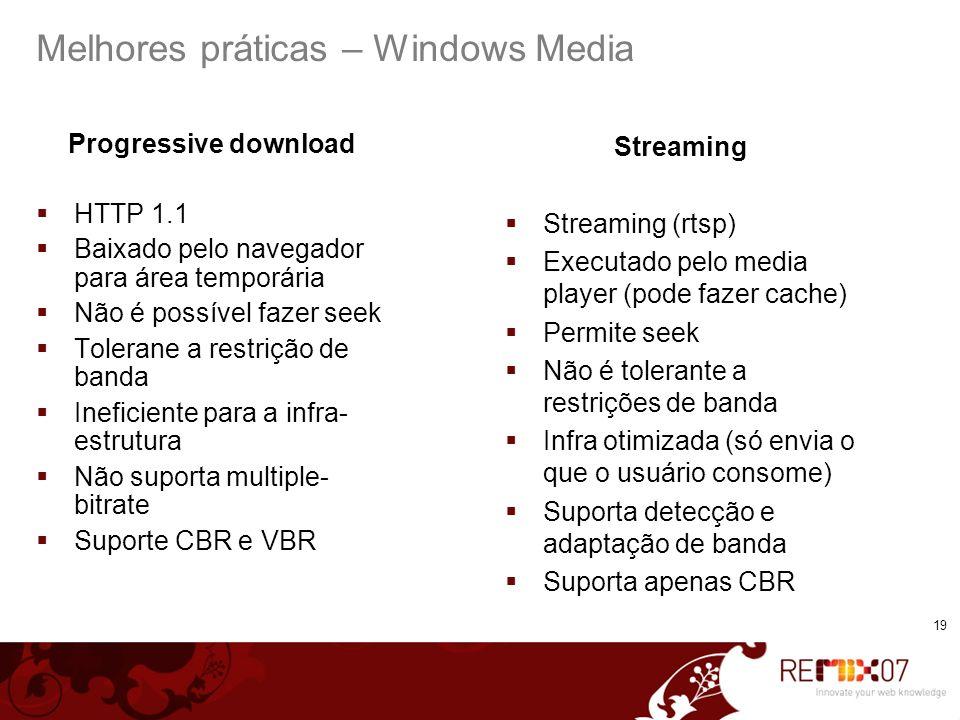 Melhores práticas – Windows Media