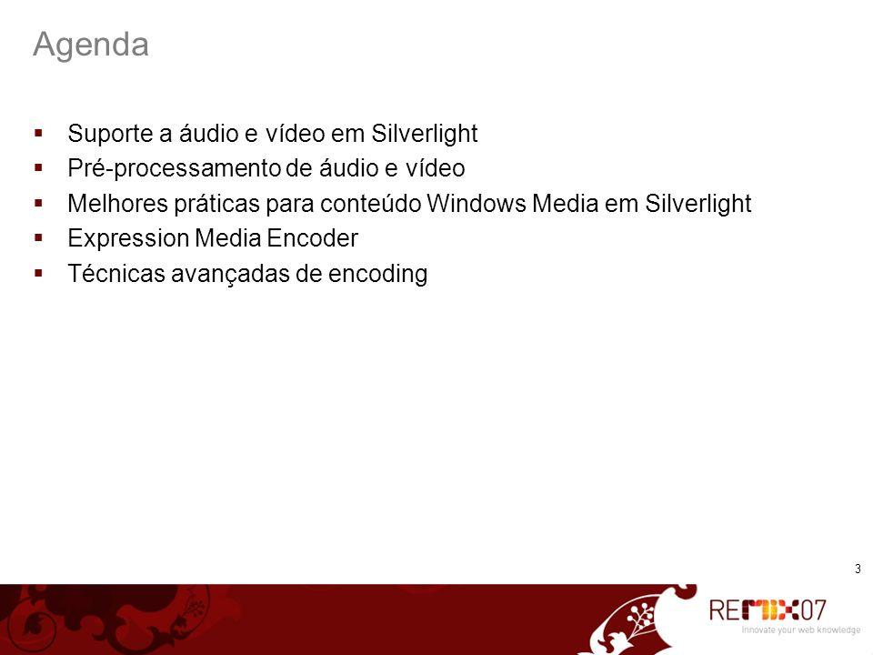 Agenda Suporte a áudio e vídeo em Silverlight