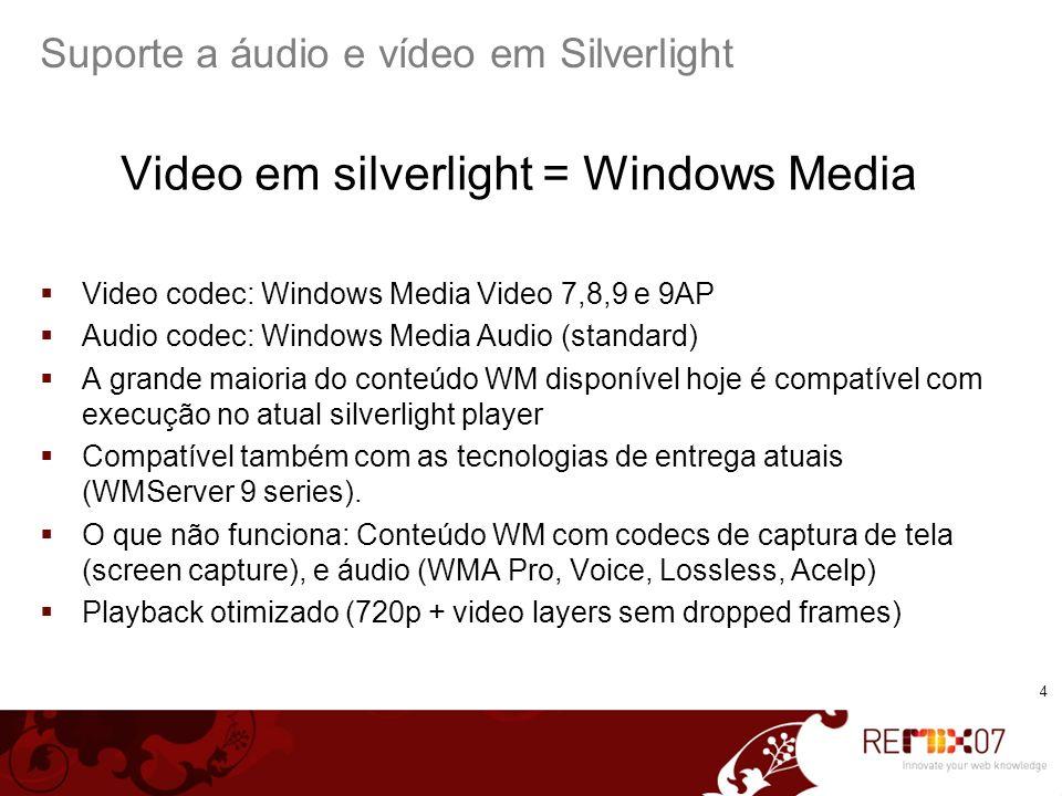 Suporte a áudio e vídeo em Silverlight
