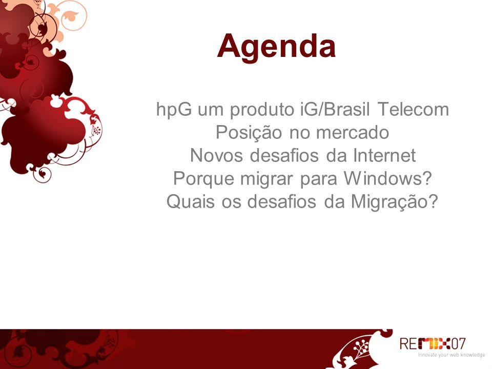 Agenda hpG um produto iG/Brasil Telecom Posição no mercado