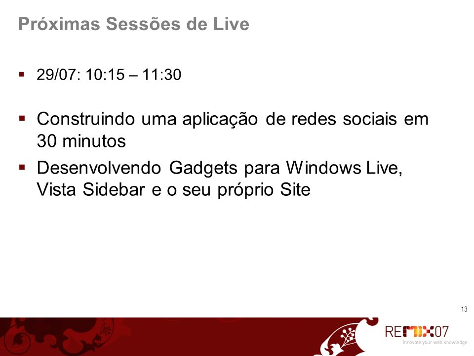 Próximas Sessões de Live
