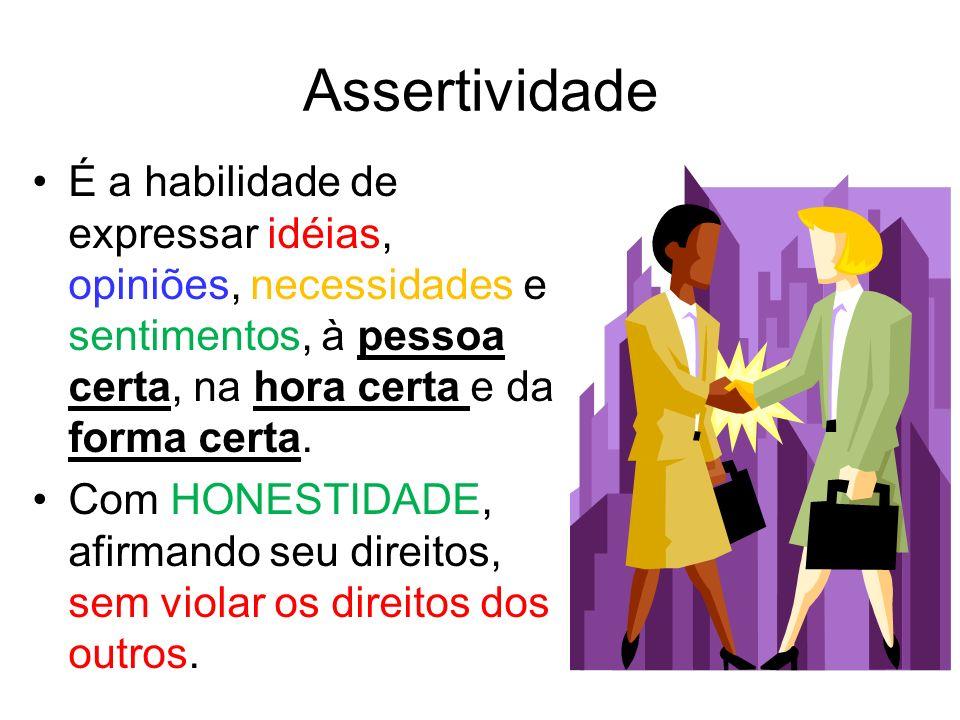Assertividade É a habilidade de expressar idéias, opiniões, necessidades e sentimentos, à pessoa certa, na hora certa e da forma certa.