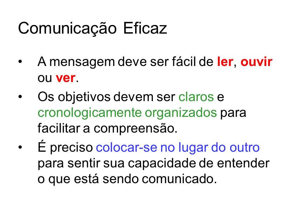Comunicação Eficaz A mensagem deve ser fácil de ler, ouvir ou ver.