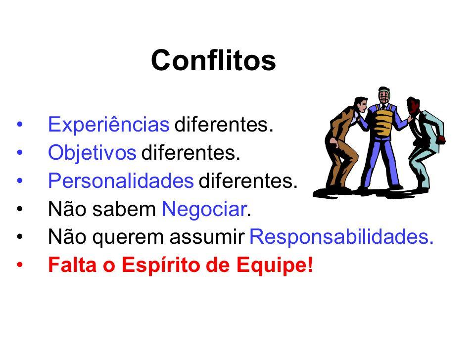 Conflitos Experiências diferentes. Objetivos diferentes.