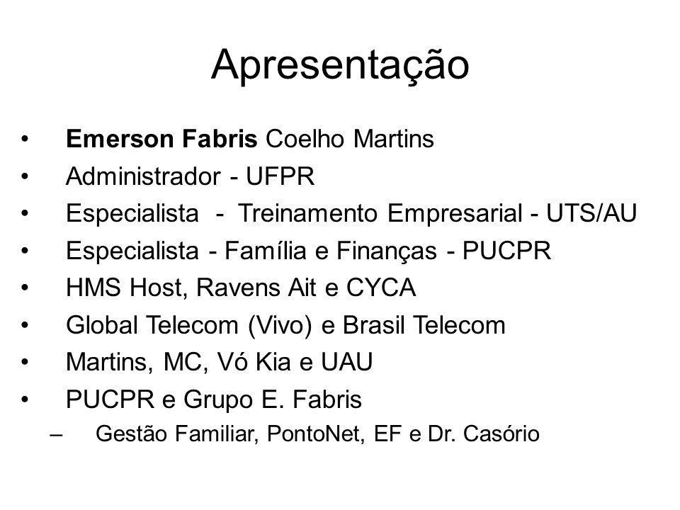 Apresentação Emerson Fabris Coelho Martins Administrador - UFPR