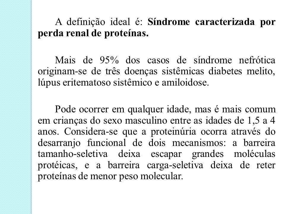 A definição ideal é: Síndrome caracterizada por perda renal de proteínas.