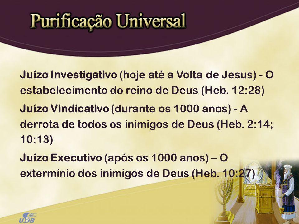 Juízo Investigativo (hoje até a Volta de Jesus) - O estabelecimento do reino de Deus (Heb. 12:28)