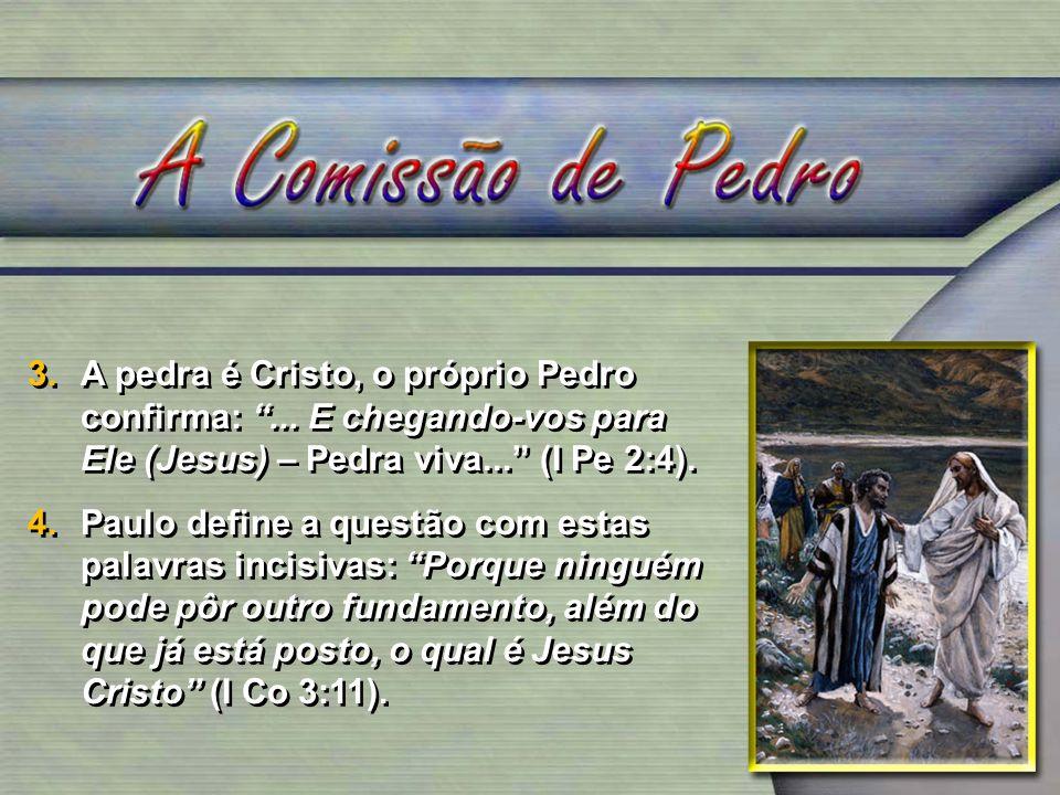A pedra é Cristo, o próprio Pedro confirma:
