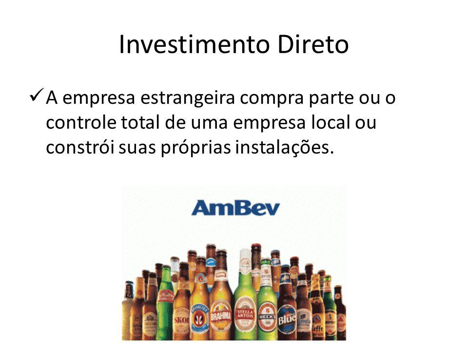 Investimento DiretoA empresa estrangeira compra parte ou o controle total de uma empresa local ou constrói suas próprias instalações.