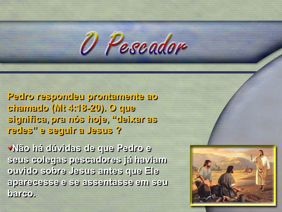 Pedro respondeu prontamente ao chamado (Mt 4:18-20)
