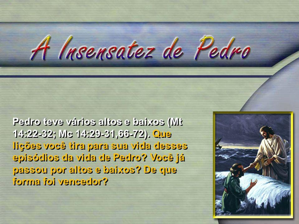 Pedro teve vários altos e baixos (Mt 14:22-32; Mc 14:29-31,66-72)