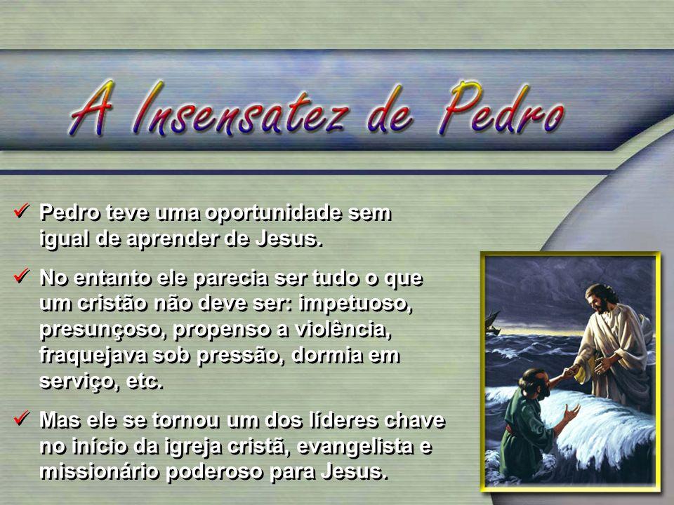 Pedro teve uma oportunidade sem igual de aprender de Jesus.