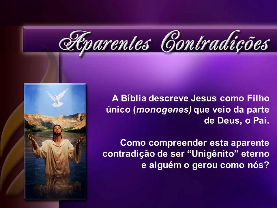 A Bíblia descreve Jesus como Filho único (monogenes) que veio da parte de Deus, o Pai.