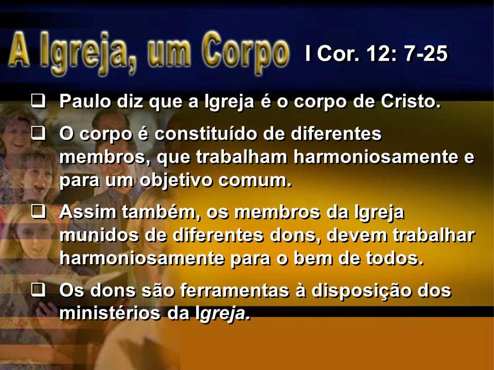 I Cor. 12: 7-25 Paulo diz que a Igreja é o corpo de Cristo.
