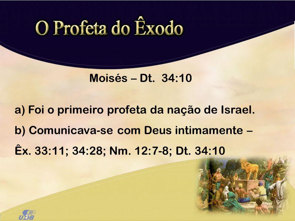 Moisés – Dt. 34:10 Foi o primeiro profeta da nação de Israel.