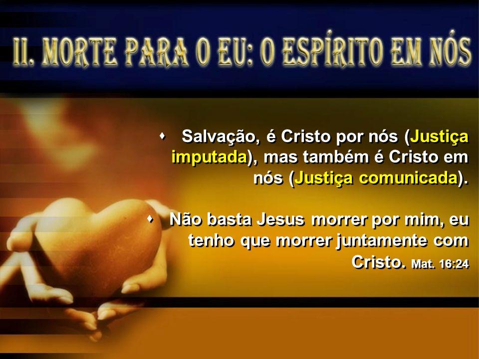 Salvação, é Cristo por nós (Justiça imputada), mas também é Cristo em nós (Justiça comunicada).