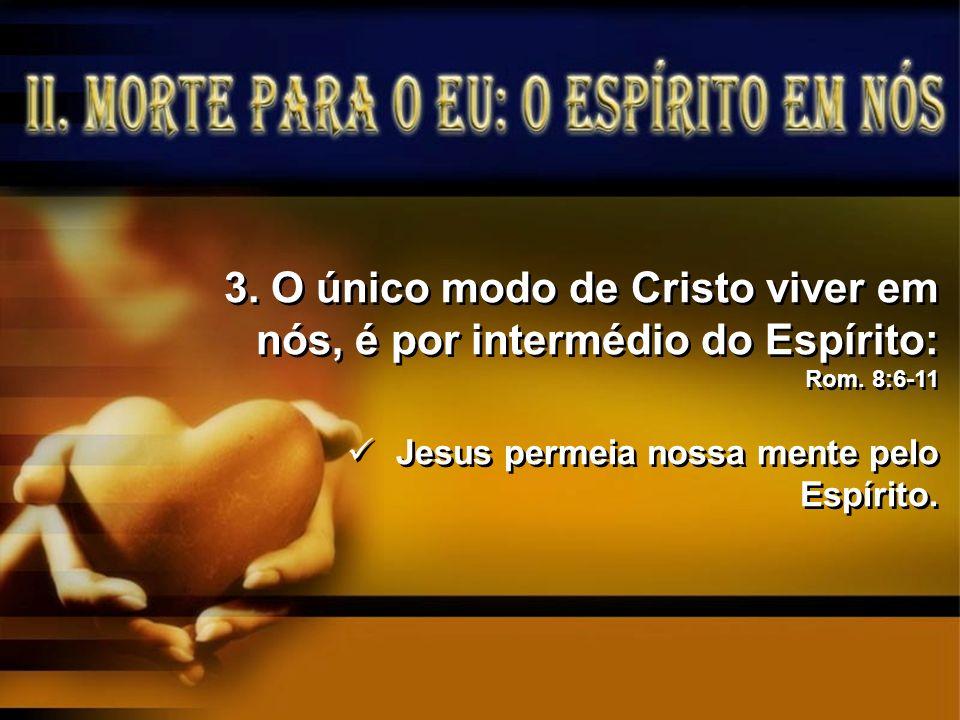O único modo de Cristo viver em nós, é por intermédio do Espírito: Rom