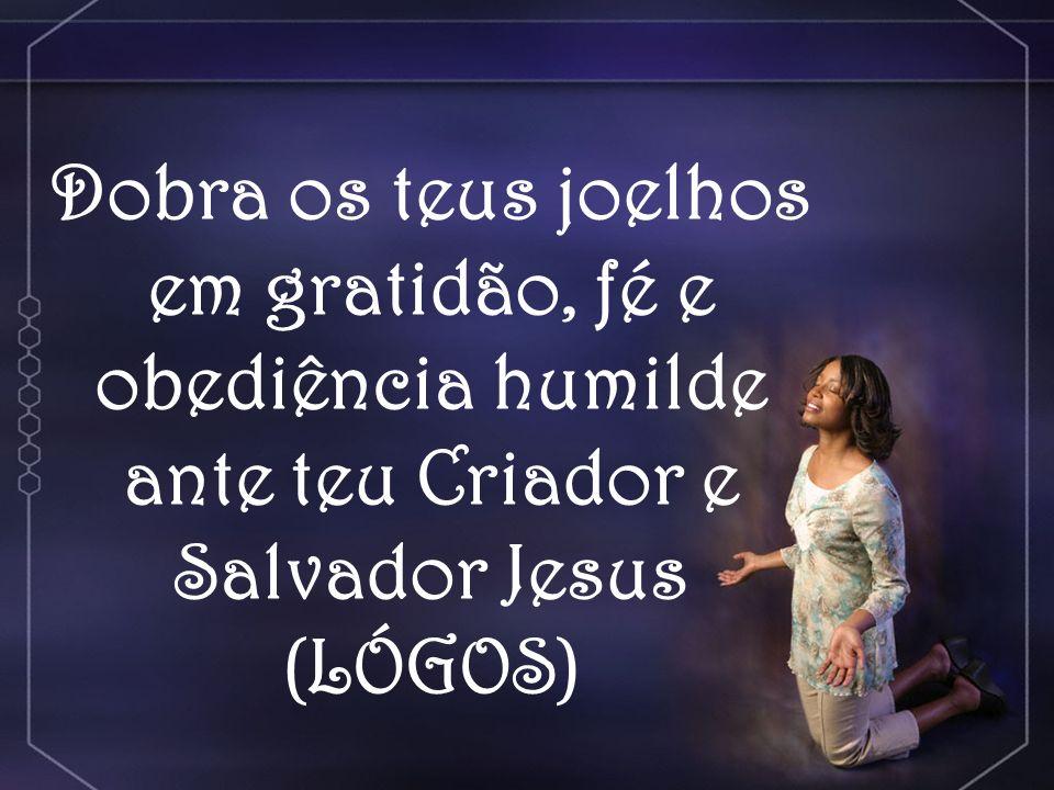 Dobra os teus joelhos em gratidão, fé e obediência humilde ante teu Criador e Salvador Jesus (LÓGOS)