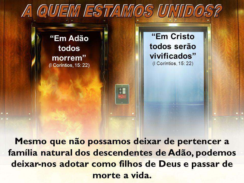 A QUEM ESTAMOS UNIDOS Em Cristo todos serão vivificados (I Coríntios, 15: 22) Em Adão todos morrem (I Coríntios, 15: 22)