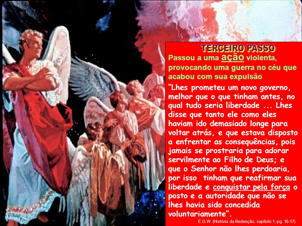 TERCEIRO PASSO Passou a uma ação violenta, provocando uma guerra no céu que acabou com sua expulsão.