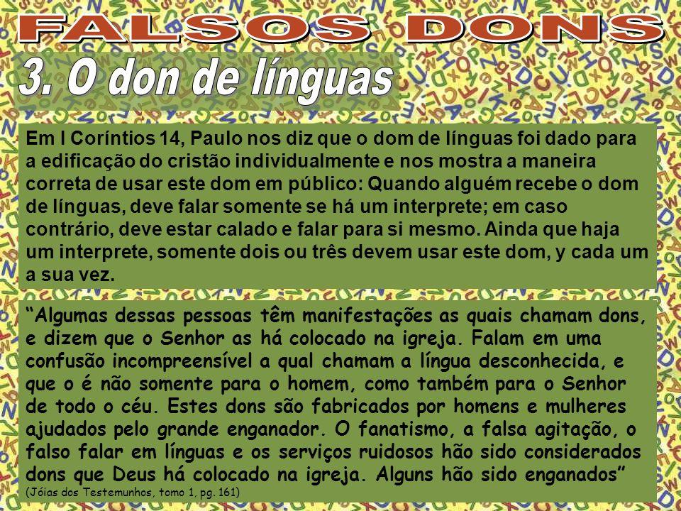 FALSOS DONS 3. O don de línguas