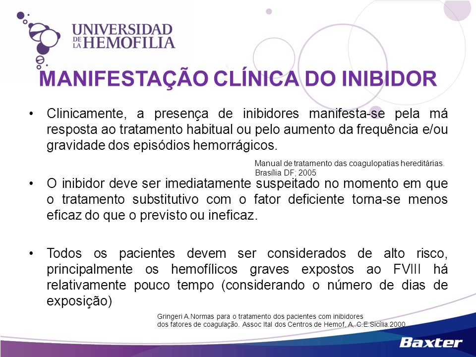 MANIFESTAÇÃO CLÍNICA DO INIBIDOR