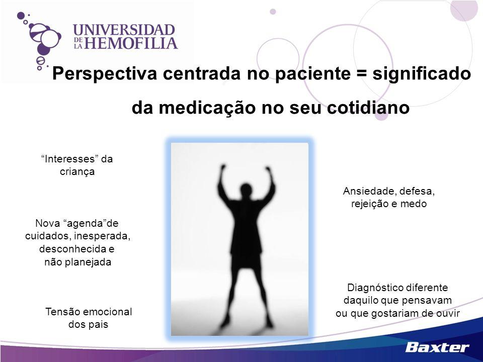 Perspectiva centrada no paciente = significado da medicação no seu cotidiano