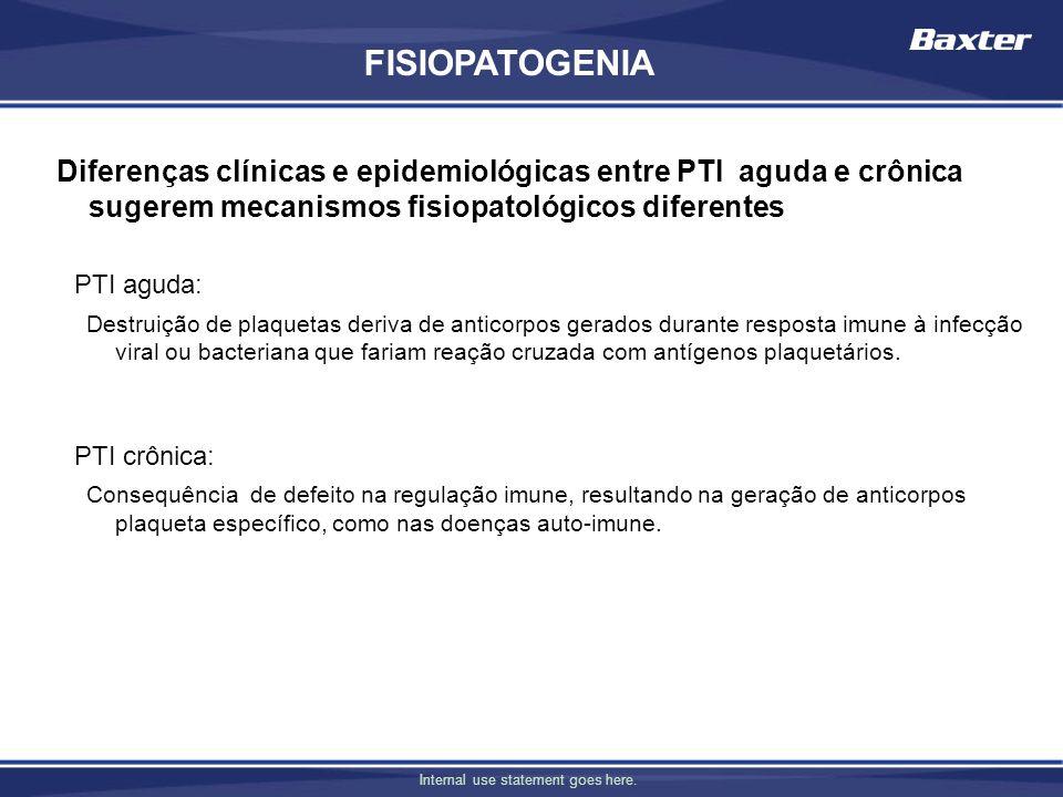 FISIOPATOGENIA Diferenças clínicas e epidemiológicas entre PTI aguda e crônica sugerem mecanismos fisiopatológicos diferentes.