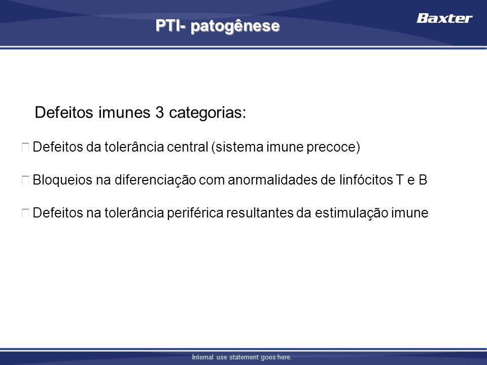 Defeitos imunes 3 categorias: