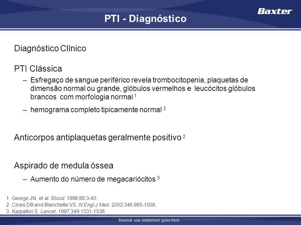 PTI - Diagnóstico Diagnóstico Clínico PTI Clássica